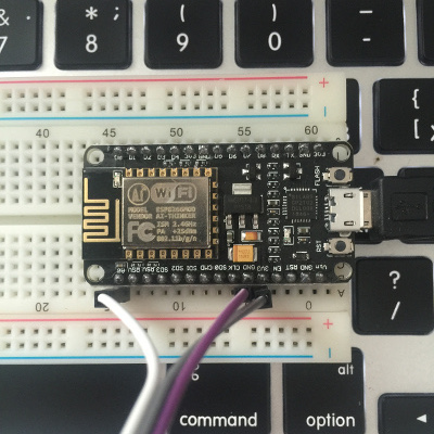 NodeMCU pins on a breadboard